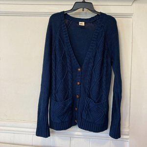 NEW Black Poppy XL Blue Cable Knit Button Cardigan